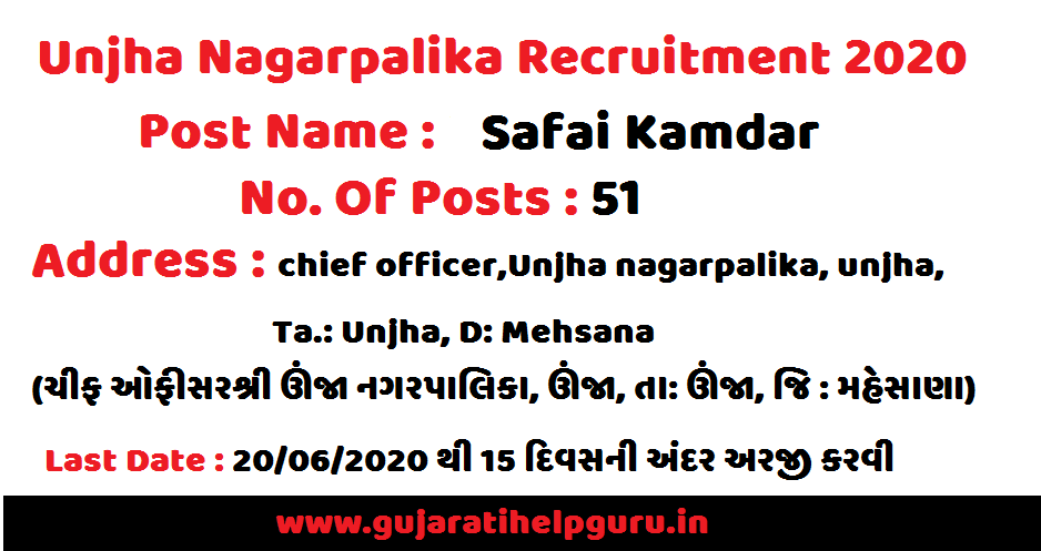 Unjha Nagarpalika Recruitment for Safai Kamdar Posts 2020